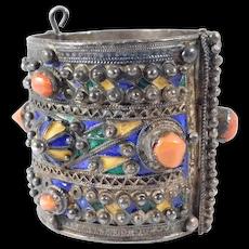 Ornate Silver Coral Enamel Berber Ethnic Cuff Bracelet