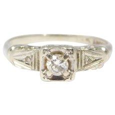 14k Art Deco Diamond Engagement Wedding Ring Pretty