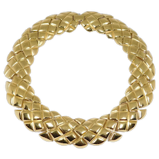 Heavy Vintage St. John Gold Tone Geometric Collar Necklace