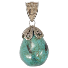 Chinese Turquoise Filigree Silver Drop Pendant