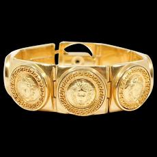 Iconic Vintage Gianni Versace Medusa Gold Tone Bracelet