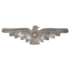 Early Silver Thunderbird Brooch Fred Harvey Era 3.5 Inches