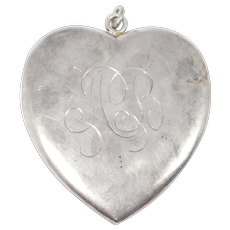 Antique Heart Shaped Locket Sterling Oversized 2.25 Inches