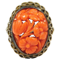 Old Ornate Carved Coral Silver Filigree Ring Beautiful