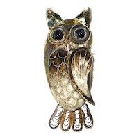 Darling Silver Enamel Cloisonne Filigree Owl Brooch