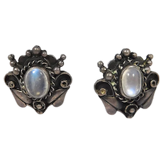 Vintage Sterling Moonstone Earrings Beautiful