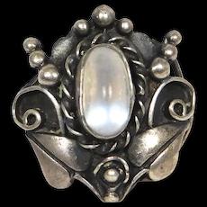 Vintage Sterling Moonstone Foliate Ring Ornate