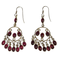 Ornate Sterling Cabochon Garnet Drop Earrings