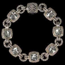 David Yurman Prasiolite And Diamonds Renaissance Square Silver Bracelet