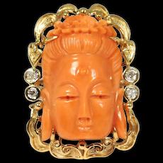 Estate Large Carved Coral Diamonds 14k Kwan Yin Ring