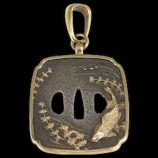 Antique Shakudo Pendant Mixed Metals Koi With Silver