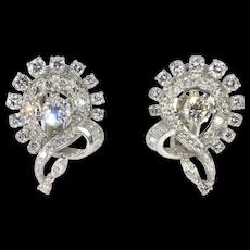 5 Carats Estate Platinum Mid Century Diamond Cluster Earrings