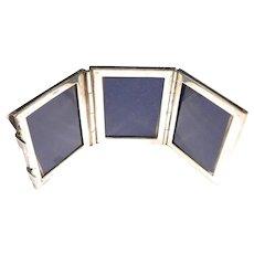 Vintage 800 Silver Triple Miniature Picture Desk Travel Frame