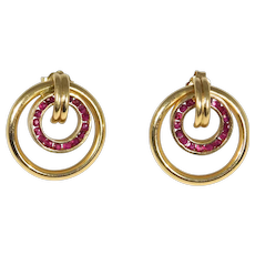 Retro 14k Natural Rubies Earrings Pretty Vintage