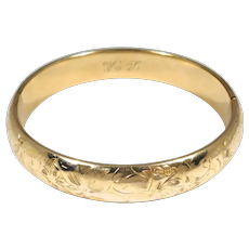 Beautiful Engraved Antique Gold Filled Bangle Bracelet