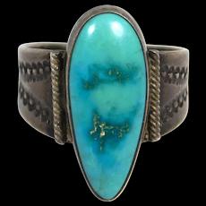Older Royston Turquoise Stampwork Harvey Era Ring