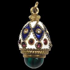 Russian Silver Gilt Enamel Egg Malachite And Garnets