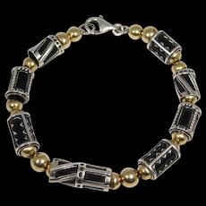 Modernist Artisan Silver Bead Bracelet Mixed Metals