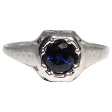 18k White Gold Ring Art Deco ½ Carat Synthetic Sapphire Stone