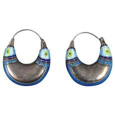 Fun Vintage Cloisonne Sterling Hoop Earrings Detailed