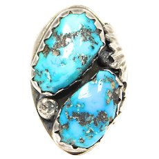 Heavy Old Southwest Turquoise Silver Ring Hand Forged