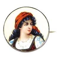 Antique Enamel Portrait Silver Gypsy Beautiful Circa 1900