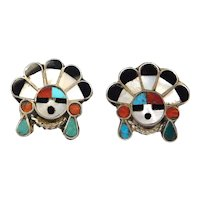 Sterling Inlay Sunface Turquoise Southwest Earrings