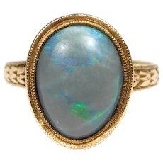 14k Victorian Natural Black Opal Ring Rare Beautiful
