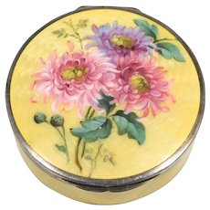 Beautiful Antique Deco 935 Enamel Box Compact Chrysanthemums
