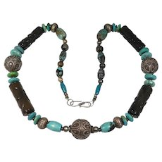 Carved Jade Chinese Turquoise Silver Ethnic Beaded Necklace