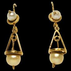 Estate Fine 14k Cultured Pearl Drop Earrings Pretty