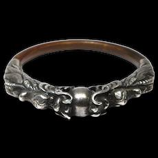 Chinese Ornate Double Dragon Rattan Silver Bangle Bracelet
