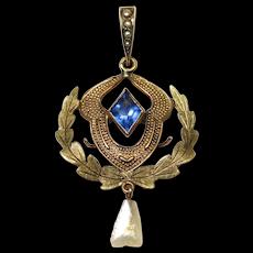 10K Antique Seed Pearl Lavalier Pendant Necklace