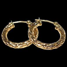Stamped 14k ¾ Inch Gold Hoop Earrings Filigree Design