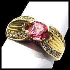 18k Fine Designer Pink Tourmaline And Diamonds Ring Beautiful