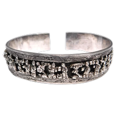 Early Ornate Old Chinese Silver Figural Cuff Bracelet
