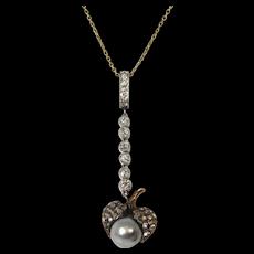 14k Platinum Rose Mine Cut Diamonds Pearl Lavalier Pendant