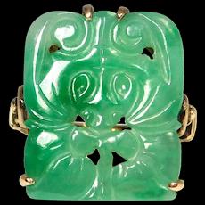 14k Art Deco Carved Natural Jade Bat Ring Filigree Setting