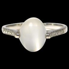 Gorgeous 14k Moonstone Diamond Estate Fine Ring