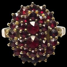 Silver Rose Cut Garnets Vermeil Cluster Ring Estate