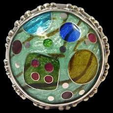 Modernist Cloisonne Enamel Dome Ring Artist Signed Sterling