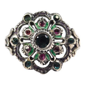 Victorian Enamel Ornate Silver Paste Ring Renaissance Style