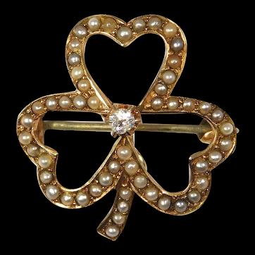 14k Victorian Diamond Seed Pearl Clover Pin Pendant