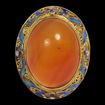 Gorgeous Large Carnelian Chinese Enamel Filigree Cloisonne Ring