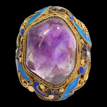 Ornate Ring Filigree Gilt Silver Chinese Cabochon Amethyst