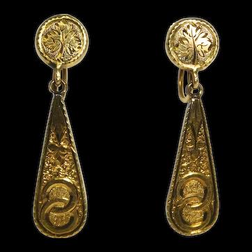 1880's Drop 10k Gold Engraved Victorian Earrings Beautiful