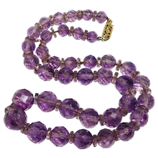 Art Deco Natural Amethyst Faceted Beads Necklace