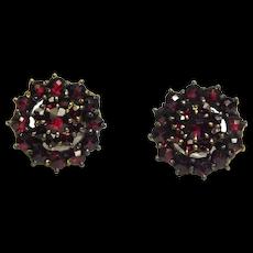 Art Deco Czech Vermeil Cluster Rose Cut Garnet Earrings