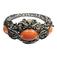 Austro Hungarian Silver Gilt Coral Seed Pearl Bangle Bracelet