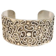 Hand Forged Sterling & 14k Modernist Cuff Bracelet